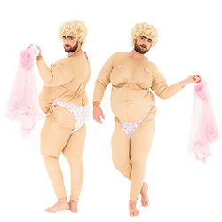 Two shots of the male model in the stripper costume, including one of him from the back whilst holding the negligee and one of him from the front