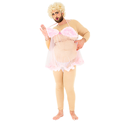 A male model wearing the stripper costume whilst holding the pink negligee and pouting