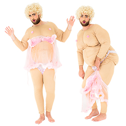 Two images of a male model in the stripper costume, including one og him from the front whilst wearing the pink negligee and one from the side