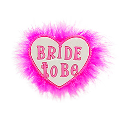 Heart shaped Bride to Be brooch with pink fluffy trim