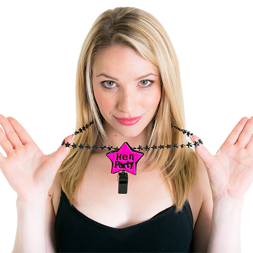 Neon pink hen party whistle with attached necklace
