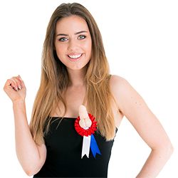 Model wearing the Willy Award Ribbon Badge