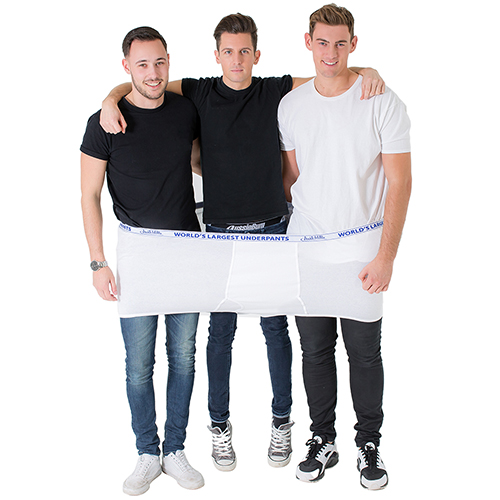 three men in worlds largest underpants