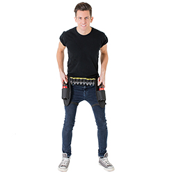 Male model wearing booze belt and holding beer bottles