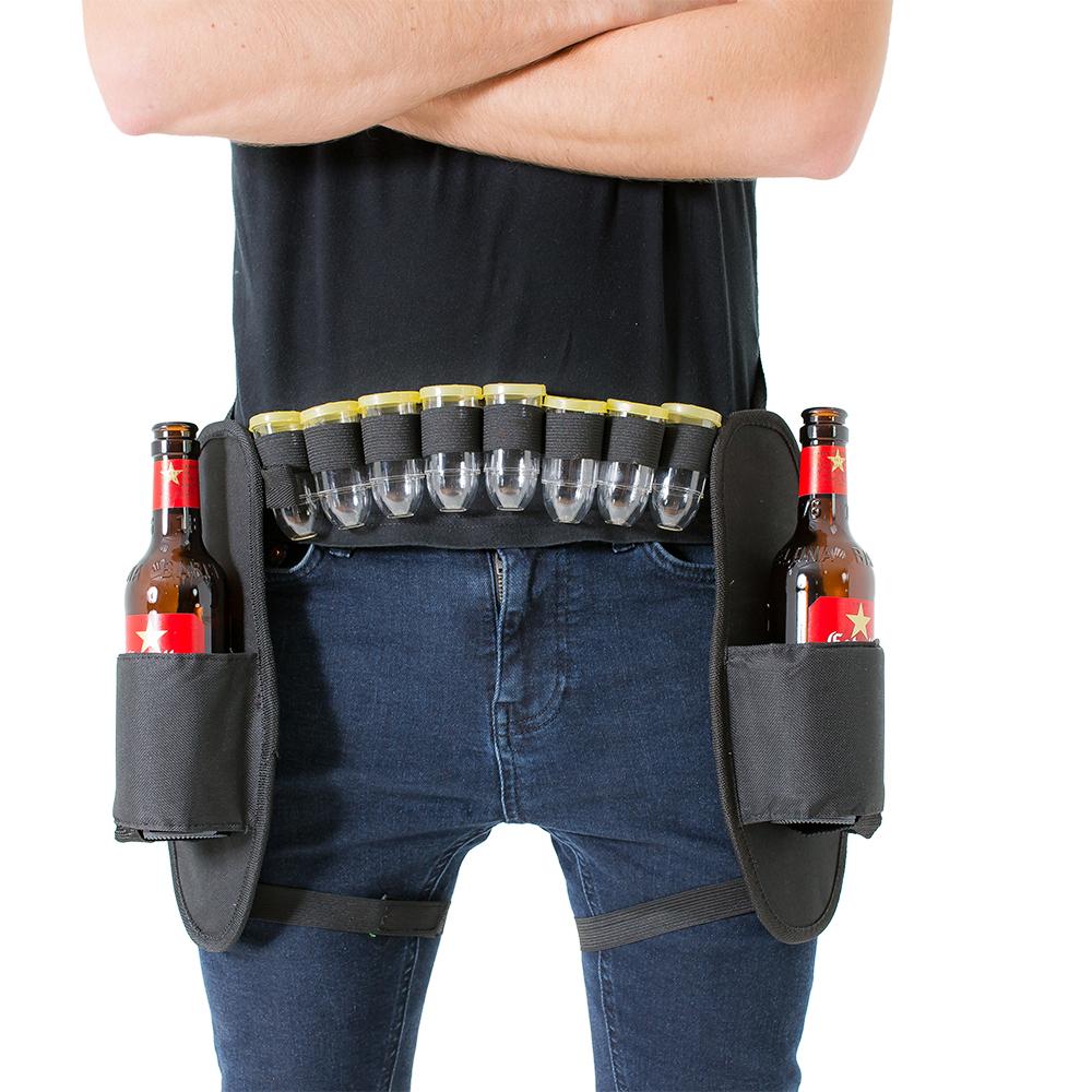 Male model wearing booze belt