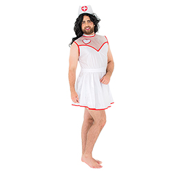 A male model wearing the male nurse costume and hat