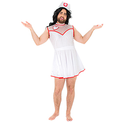 A male model wearing the male nurse costume and holding up his arms as he smiles