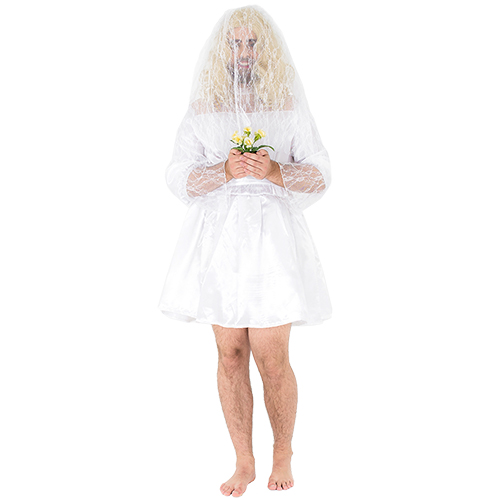 Male bride costume modelled with veil over face