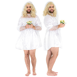Male bride costume modelled from the front and side