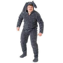Male model in fluffy dog costume