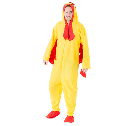 Man wearing chicken costume
