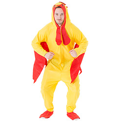 Man posing in chicken costume