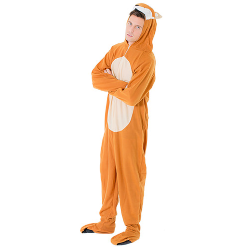Male model wearing barn yard fox costume