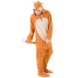 Male model wearing fox costume holding his tail, with head down and zip slightly undone