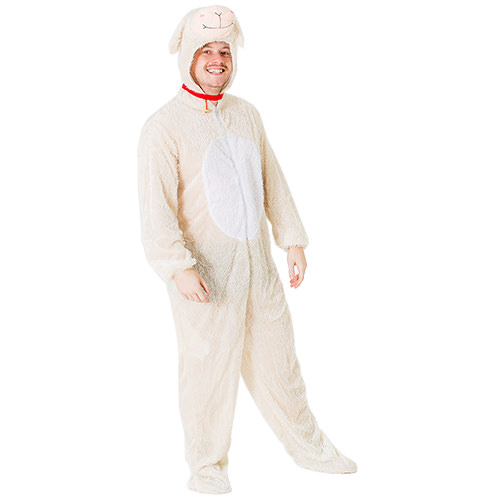 Male model wearing lamb onesie and smiling