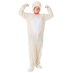 Male model wearing lamb onesie and tensing his muscles in the air