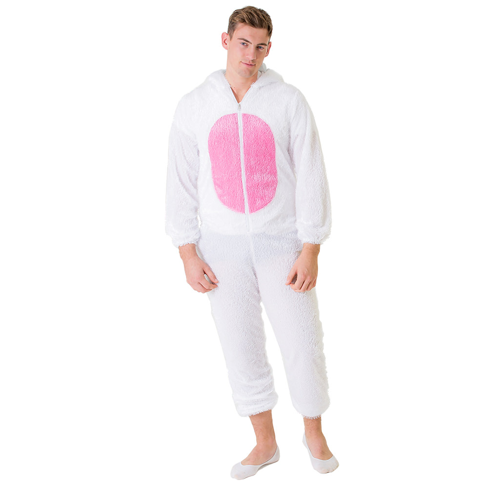 Full length image of a male model wearing the bunny costume