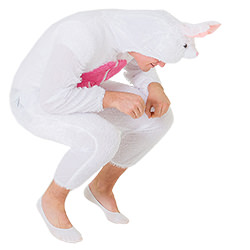Male model crouched down whilst wearing the bunny costume