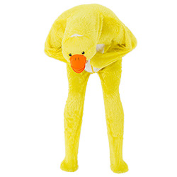 Male model wearing duck costume and bending forwards to show duck's face on hood