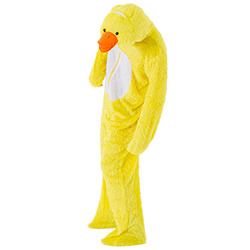 Male model wearing duck costume and leaning slightly forward to show duck's face