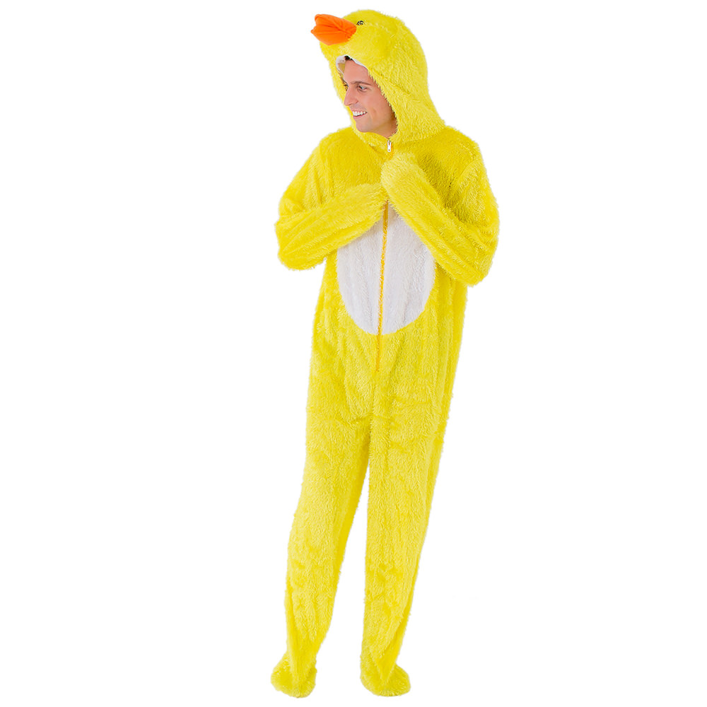 Male model wearing duck costume