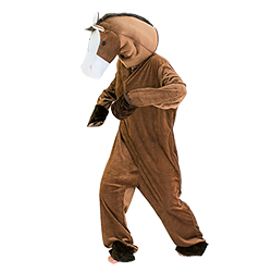 Model wearing horse costume and showing side of the head