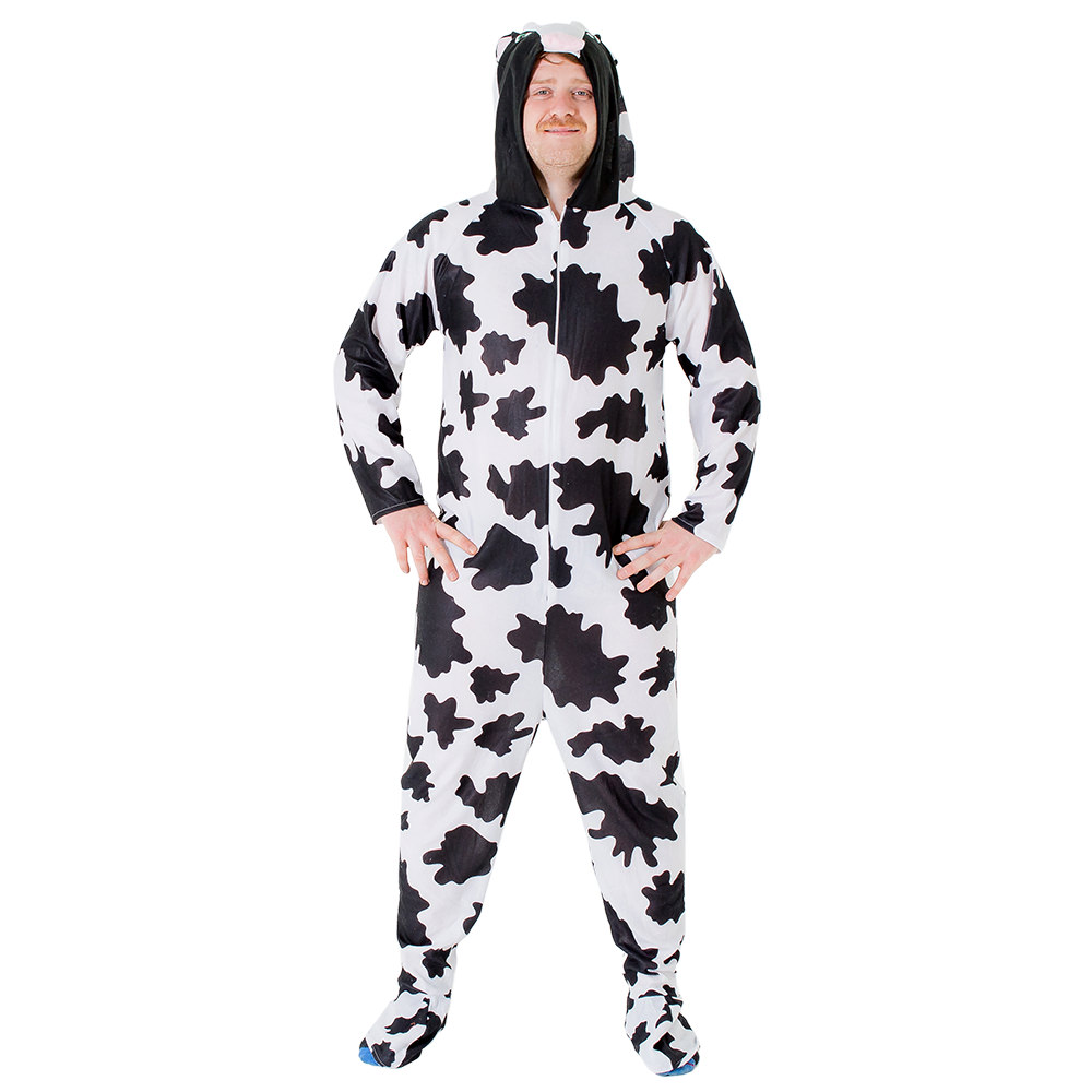 Cow costume modeled by male model