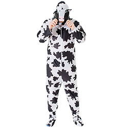 Male model wearing cow costume whilst holding the hood with cow face on