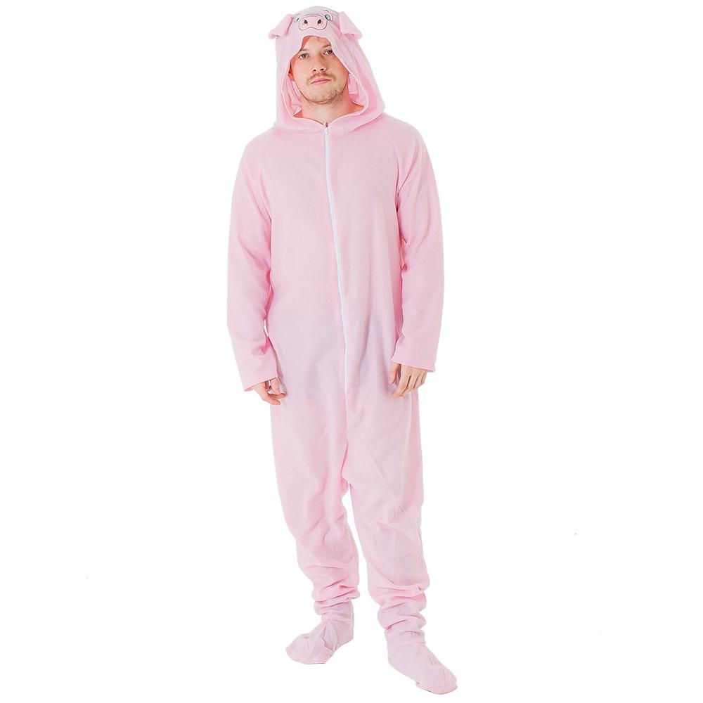 Man wearing pig costume