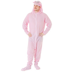 Man wearing pig costume with his hands on his hips