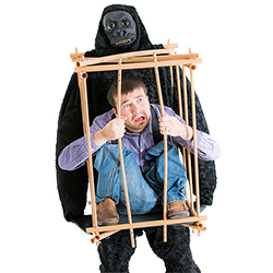 Man pulling apart the bars of the cage whilst gorilla holds the cage