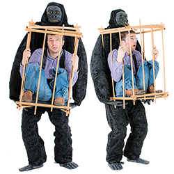 Two images of a man wearing the man in a cage with gorilla costume