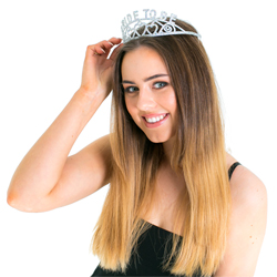 Model wearing the Bride-to-Be glitter tiara