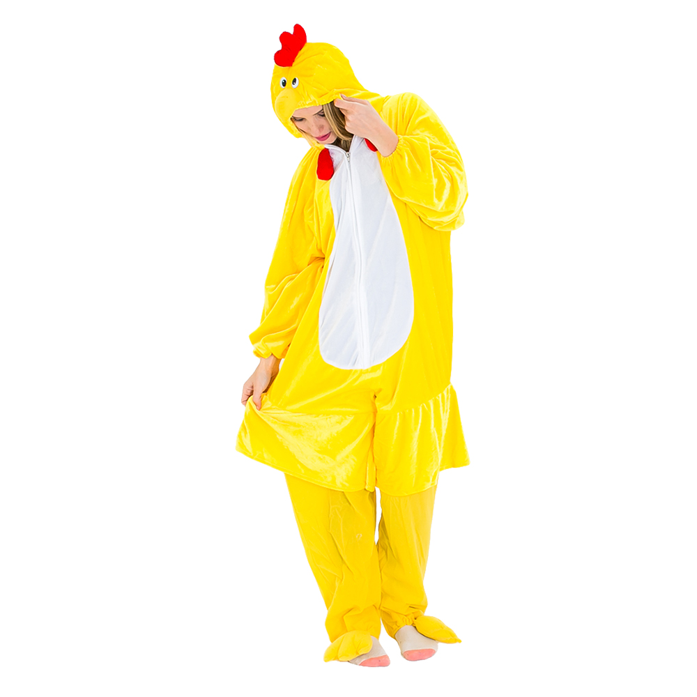Yellow and red chicken costume