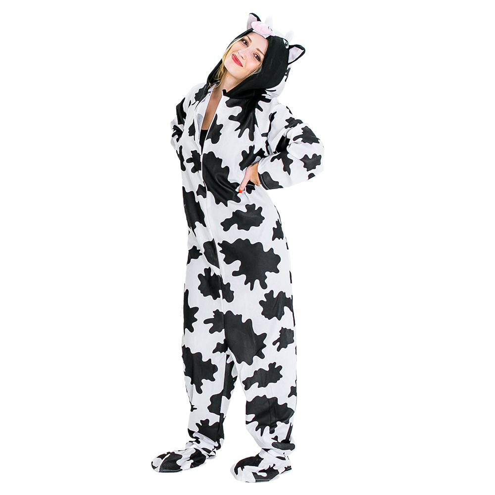 Zip up cow costume.