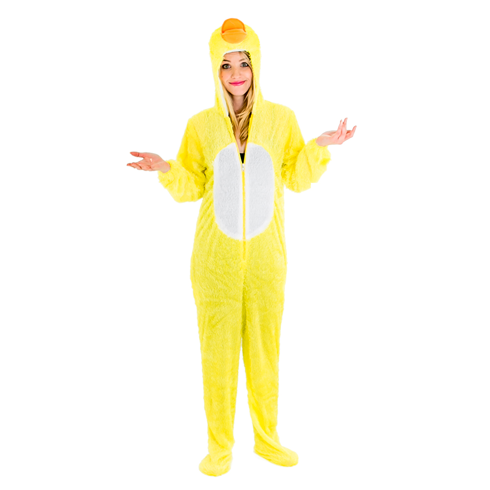 Model wearing the bright yellow duck costume