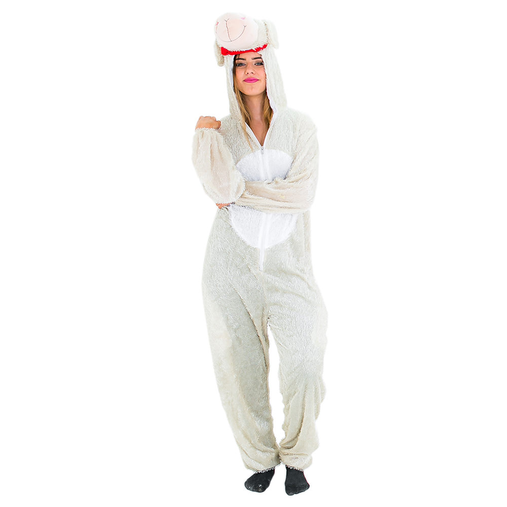 Fluffy lamb costume with red collar
