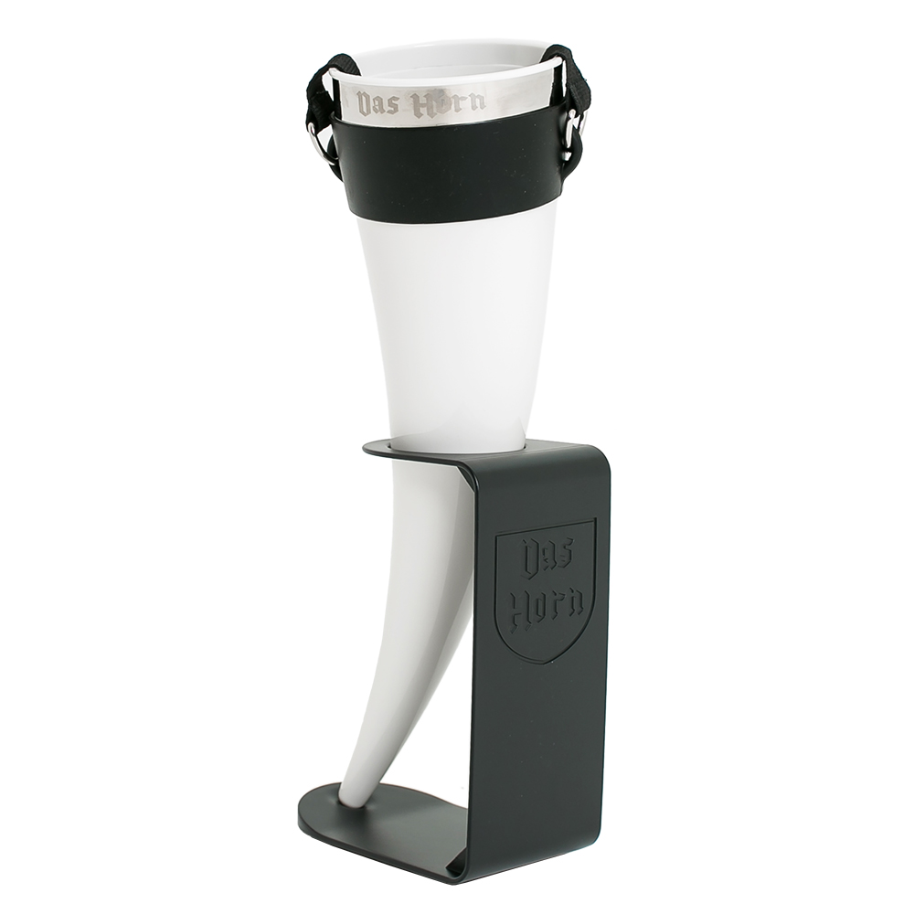 White drinking horn with steel rim