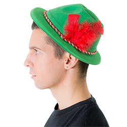 The hat seen on model at a side view