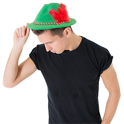 The hat seen on model at a side view with head down