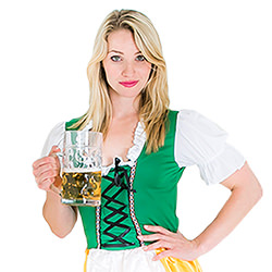 A model in the Bavarian beer girl outfit