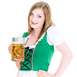 Holding a big stein of beer