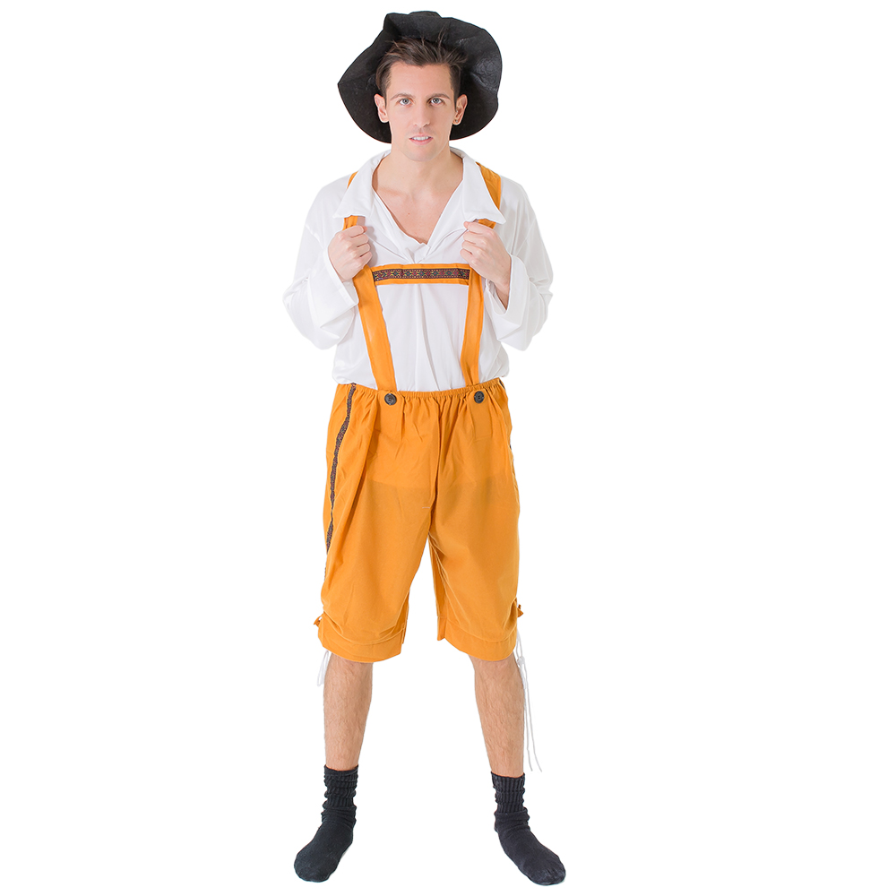 Traditional orange lederhosen.