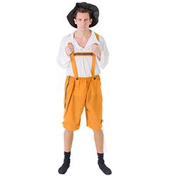 Traditional orange lederhosen.