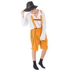 Closer view of the traditional orange lederhosen costume.