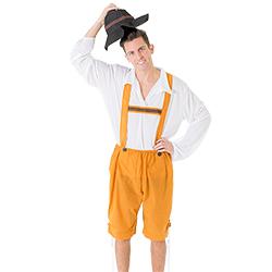 Lifting hat in the traditional orange lederhosen costume.