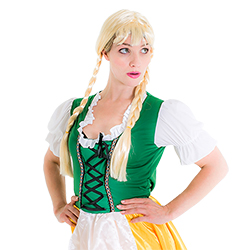 The wig modelled with a Bavarian themed outfit
