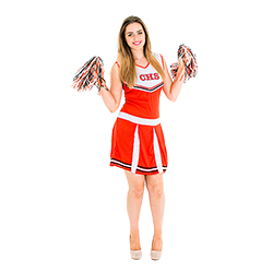Full cheerleader costume with pompoms