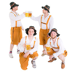 A group of guys in costume enjoying their beers