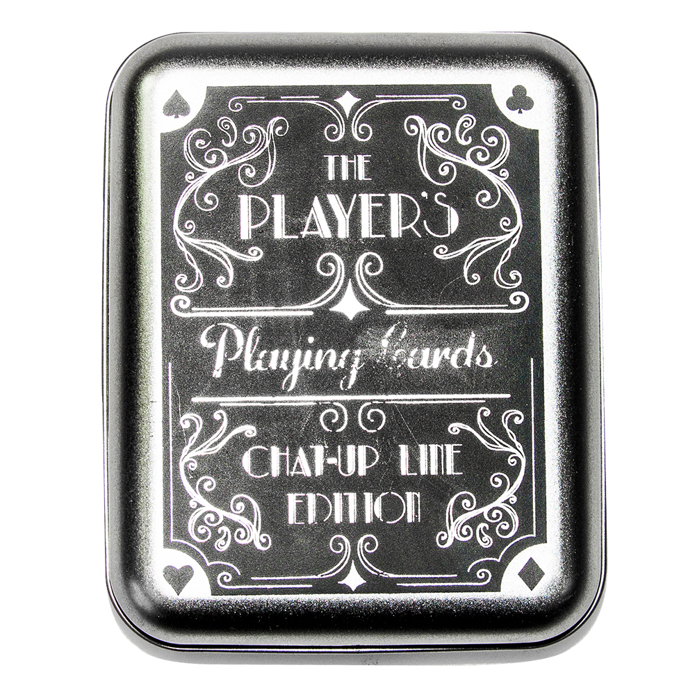 Front of player's playing card tin